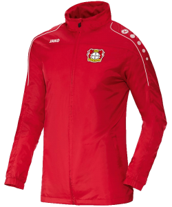 JAKO Bayer 04 Leverkusen BA7401F - Rain Jacket Team Men Kids Water Resistant Several Sizes Zipped Side Pockets Hood Integrated Into Collar Color Red