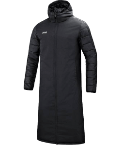 JAKO Team 7105 - Long Coat Black For Men Water Resistant Top Material Thermal Lining Several Sizes Two-Way Zipper Quilted Hood