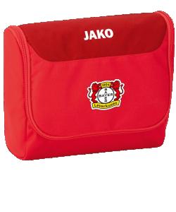 JAKO Bayer 04 Leverkusen BA1716 - Trousse de Toilette Compartiment Principal Spacieux 2 Couleurs Sangle à Accrocher en Position Ouverte Fermeture Éclair à Double Sens