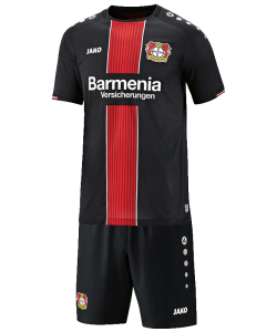 JAKO Bayer 04 Leverkusen BA4518H - Set Baby of Shorts and Jersey Shirt SS Home 2018-2019 Round Collar Several Sizes Color Black Printed Logo