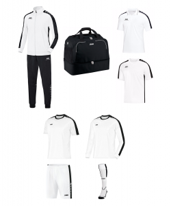 JAKO EO10016 - Pack Club Striker - Survêtement - Polo - T-Shirt - Sac Sports - Maillots - Short - Chaussettes - Homme Enfants Plusieurs Couleurs Tailles