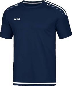 JAKO 4219 Striker 2.0 - T-Shirt Maillot Courtes Manches Homme Enfants Col Rond Plusieurs Couleurs Tailles Rayures Contrastantes Épaules et Ourlet