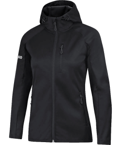 JAKO 7605W - Softshell Light Jacket Women Cut Wind Rain Resistant Several Colors Sizes Zipped Side Pockets Hood with Drawcord Stops
