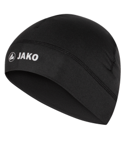 JAKO 1229 - Bonnet Fonctionnel Run Noir Hommes Femmes Enfants 2 Tailles Junior Senior Impressions Réfléchissantes Intérieur Brossé Garde Chaleur