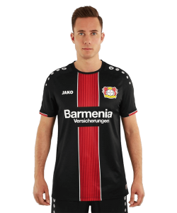 JAKO Bayer 04 Leverkusen BA4218H - Jersey Shirt Short Sleeves Home 2018-2019 For Mens Kids Round Collar Several Sizes Color Black Printed Logo