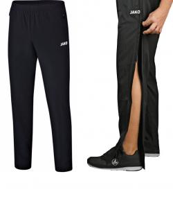 JAKO Profi 6507 - Pantalon Noir Homme Poches Latérales Plusieurs Tailles Couture à Fermeture Éclair Pleine Longueur Bord Élastique