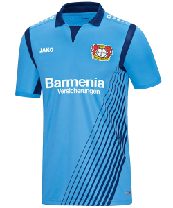 JAKO Bayer 04 Leverkusen BA4217S - Jersey Shirt Short Sleeves For Mens Kids Breathable Round Collar Several Sizes Color Sky Blue Printed Logo