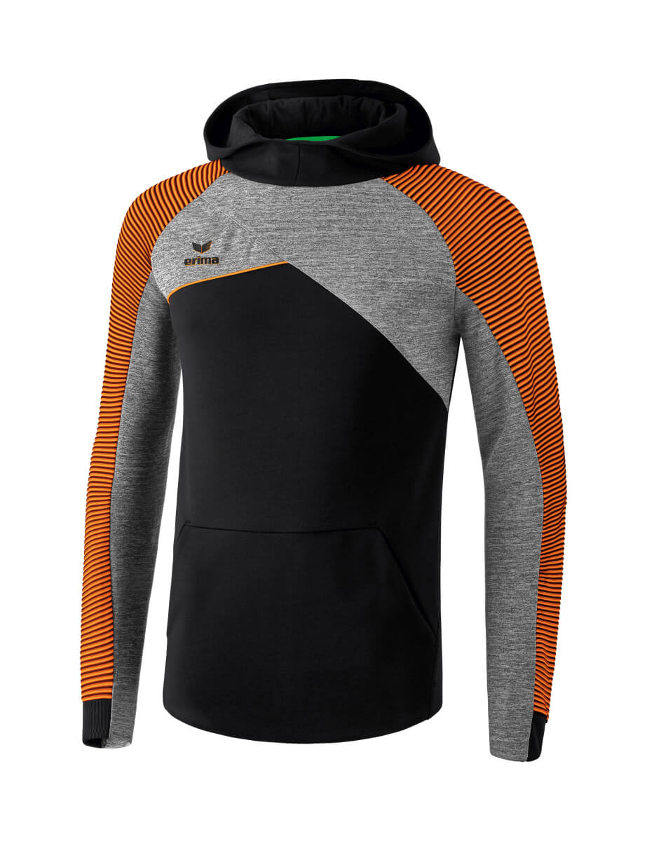 ERIMA 1071815 Sweat à Capuche Premium One 2.0 Noir/Gris Chiné/Orange Fluo