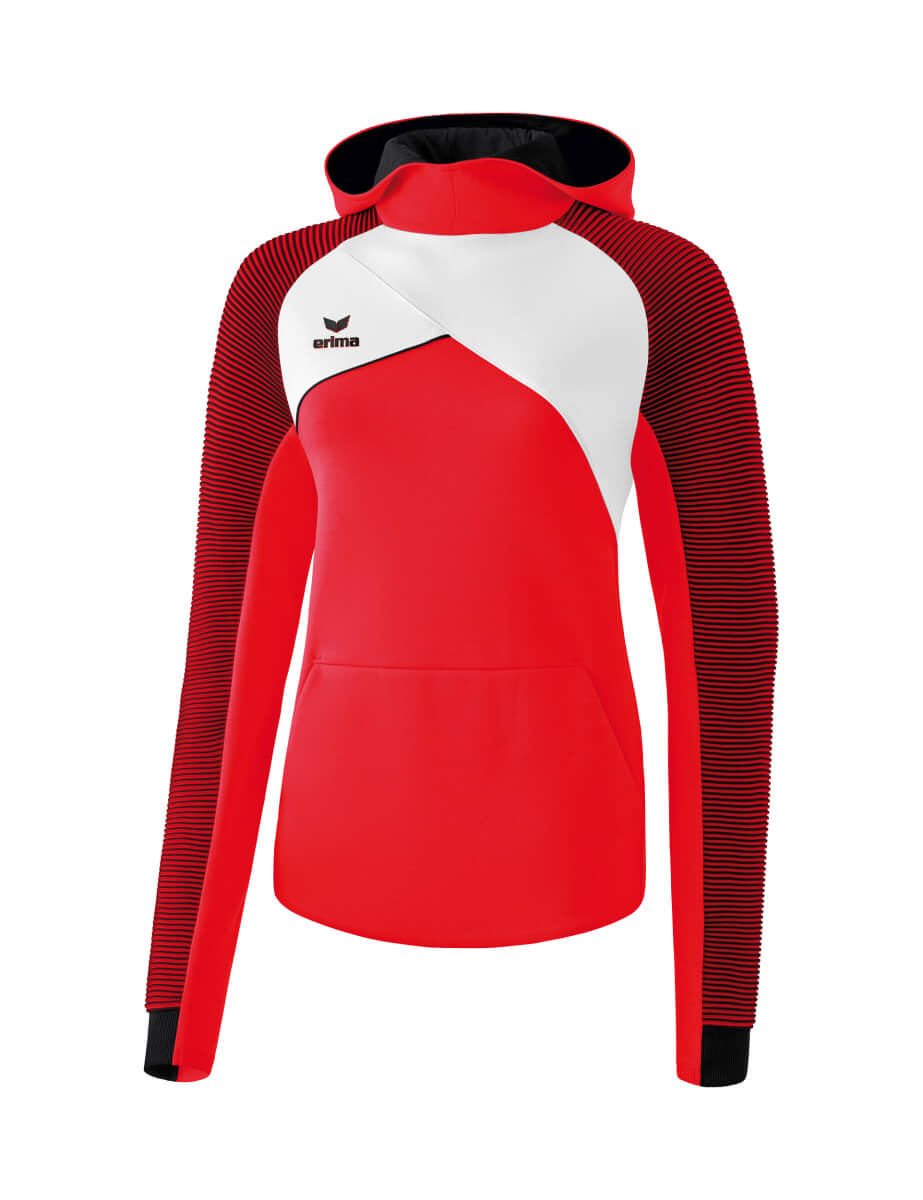 ERIMA 1071818 Sweat à Capuche Premium One 2.0 Rouge/Blanc/Noir