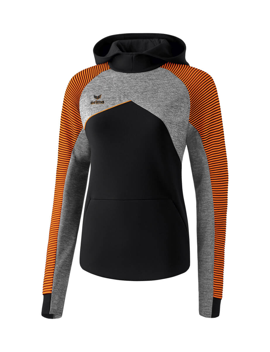 ERIMA 1071823 Sweat à Capuche Premium One 2.0 Noir/Gris Chiné/Orange Fluo
