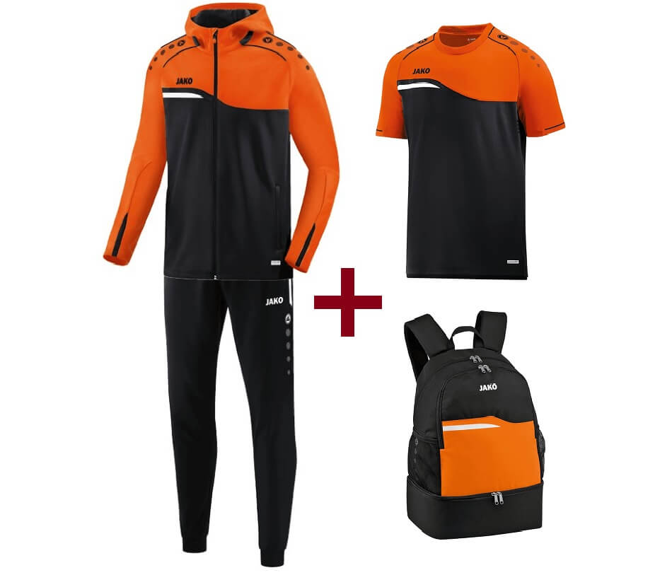 JAKO-EOS10018-19 KIT Entraînement Optimal - Competition 2.0 Noir/Orange Fluo